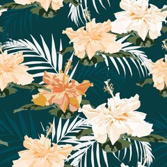 Seamless tropical flower pattern background. Hibiscus flowers, jungle leaves, on dark green background. Exotic print.