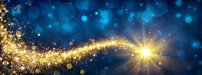 Christmas Golden Star In Blue Sparkle Sky