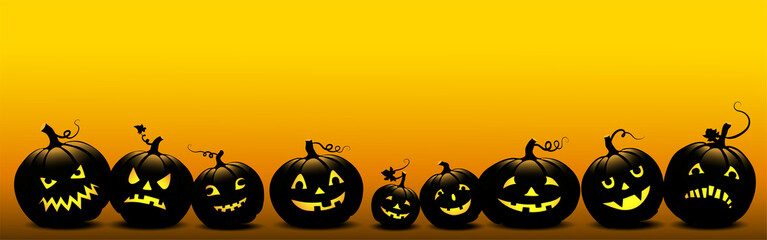 Halloween Banner mit leuchtende Kürbisse, Vektor Illustration