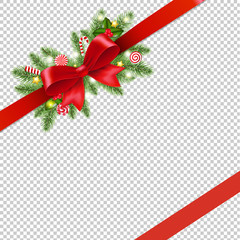 Christmas Red Ribbon And Bow Isolated Transparent Background