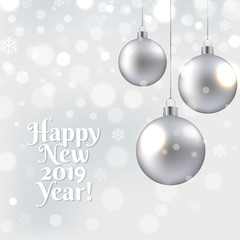 Happy New Year Card With Christmas Ball