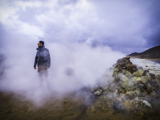 Thermal gas coming out from the ground at Hverir geothermal area in Northern Iceland