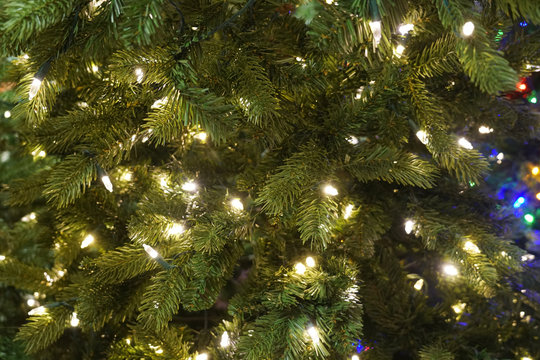 Close up on Christmas tree with light