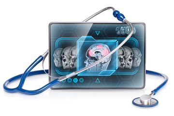 Modern medical tablet displaying brain activity scan, isolated on white background