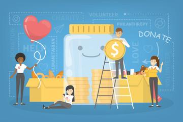 People donate money to help poor people