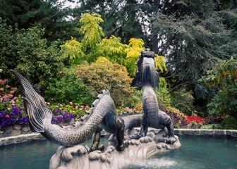 dragon fountain in a park
