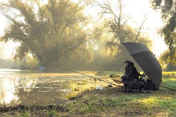 Printed kitchen splashbacks Fishing Man fishing on a sunny morning