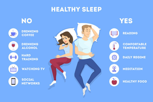 Rules of good healthy sleep at the night.