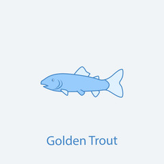 golden trout 2 colored line icon. Simple light and dark blue element illustration. golden trout concept outline symbol design from fish set