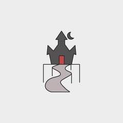 Happy Halloween Magic castle outline colored icon