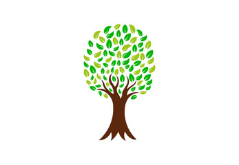 Green Nature Tree, Vector Logo