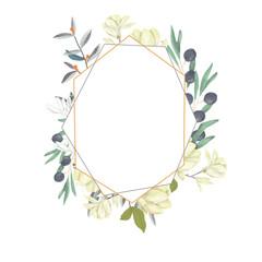 Wedding Invitation, floral invite card, olive floral and magnolia geometric golden frame print. White background