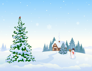 Winter landscape background and Christmas tree
