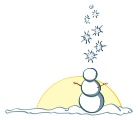Snowy snowman bottom right border
