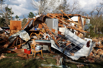 A home destroyed by Hurricane Michael is pictured in Fountain