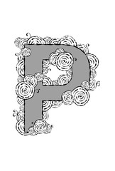 """Black and white illustration of the letter """"P"""" with swirl patterns."""
