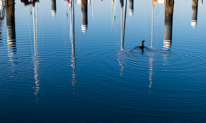 Boat mast reflections on blue rippled water