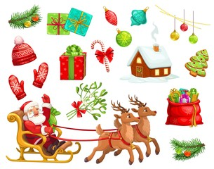 Christmas holiday icons and characters