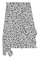 Vector mosaic abstract Alabama State map of flat triangles in gray color.