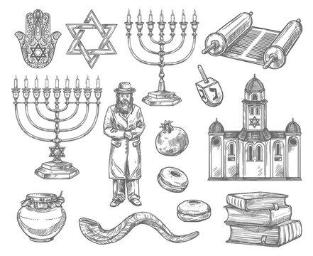 Judaism religion symbols, jewish objects