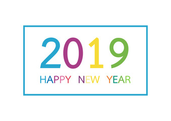 Happy new year 2019. Greeting card or calendar cover, banner, brochure design template. Vector illustration
