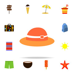 Beach hat flat icon. Summer icons universal set for web and mobile