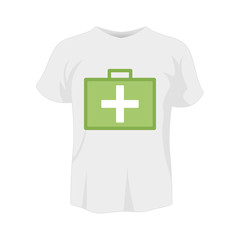 T-shirt white color mockup isolated from background with first-aid kit colored