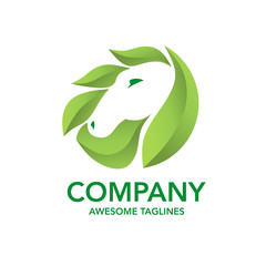 horse and green leaf logo vector concept element perfect for nature and power business