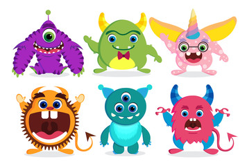 Cute monster vector characters elements set with funny faces and beast creature looks isolated in white. Vector illustration.