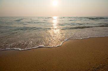 sunset and beach.