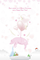 Happy new year 2019 Postcard with pink pig zodiac sign and with balloons in the form of hearts on background with ribbons. Flat vector illustration EPS10