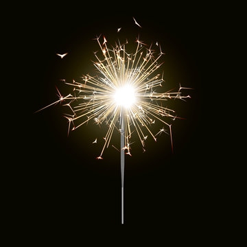New year sparkler candle isolated on black background. Realistic vector light effect. Party backdrop