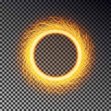 Fiery sparks circle effect isolated. Sparkler ring vector. Magic round sparkle, fierly flame frame.