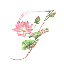 Floral Watercolor Alphabet. Letter F Made of Flowers.