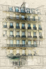 Typical Parisian building painting