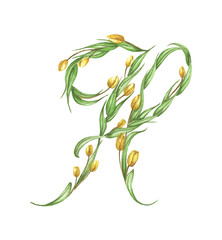 Floral Watercolor Alphabet. Letter H Made of Flowers.