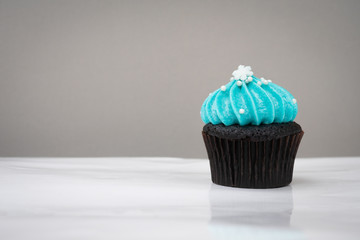 cute cupcake with small white snow blue cream on white background