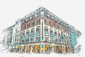 A watercolor sketch or an illustration. Christmas and New Year's holiday. City decorations. Christmas and gifts for New year and wreath on building