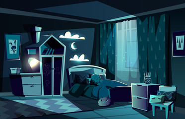 Lit by moonlight children room with little boy slipping in cosy bed with nightlight lamp on cartoon vector illustration. Children bedroom at moonlit night. Child sweet dreams and healthy sleep concept