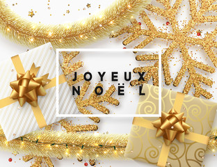 French text Joyeux Noel. Christmas background. Design illustration golden bright decorations, shining sparkles of snowflakes, gift box, gold tinsel and light garland. Xmas card vector