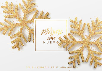 French text Meilleurs Voeux. Christmas background with shining gold snowflakes. Xmas festive greeting card vector Illustration.