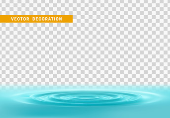 Realistic water ripples and round weave with curle. Vector Isolated with transparent background