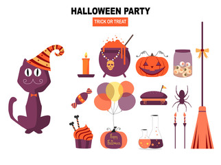 Set of characters  for Halloween in cartoon style,elements,cute,ghost,pumpkin,witch, Vector illustration.