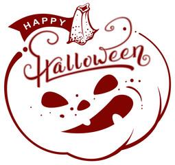 Happy Halloween text pumpkin lantern. Greeting card retro style