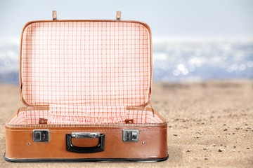 Empty Vintage Suitcase open isolated on green