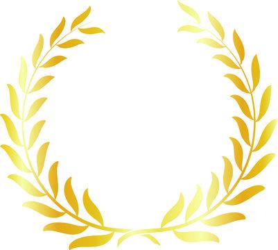 Round frame of gold laurel