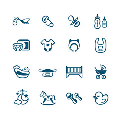 Newborn baby objects icons | MICRO series