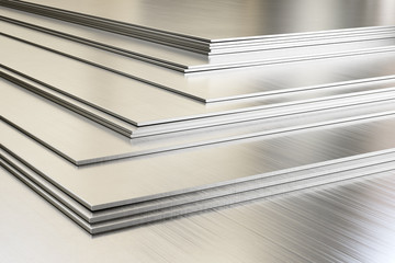 Fototapeta Steel sheets in warehouse, rolled metal product. 3d illustration.