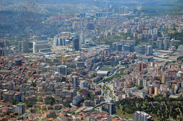 Istanbul City view from largest skyscraper Sapphire Tower, Turkey. Top view