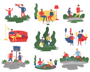 Flat vector set of fathers with sons in different actions. Dads spending time with their kids at home and outdoor. Fatherhood theme